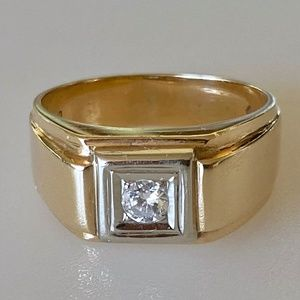 Vintage 14k Mens .20 ct Diamond Pinky Ring 9.2g